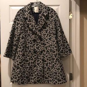 Anthropologie gray leopard coat Size M